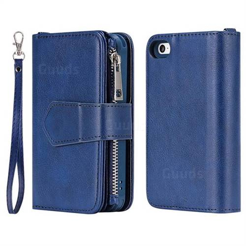 buy popular c5372 2f104 Retro Luxury Multifunction Zipper Leather Phone Wallet for iPhone SE 5s 5 -  Blue