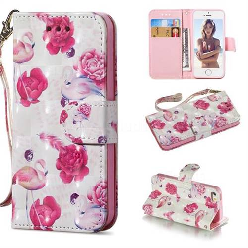 Flamingo 3D Painted Leather Wallet Phone Case for iPhone SE 5s 5