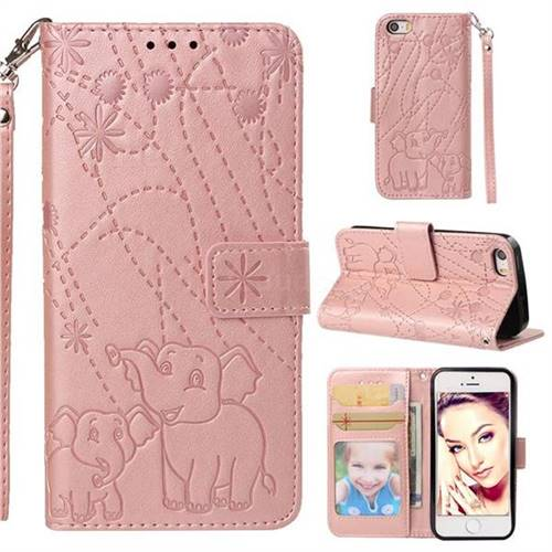 Embossing Fireworks Elephant Leather Wallet Case for iPhone SE 5s 5 - Rose Gold