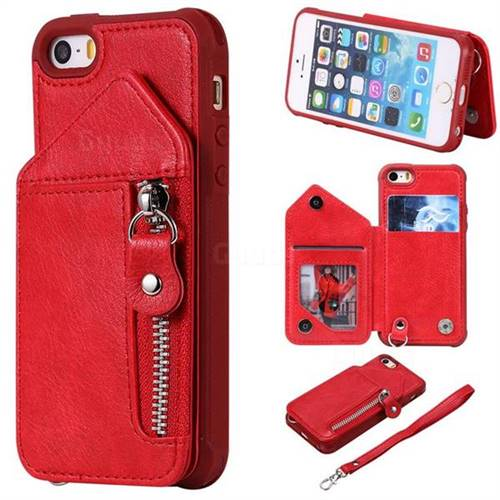Classic Luxury Buckle Zipper Anti-fall Leather Phone Back Cover for iPhone SE 5s 5 - Red