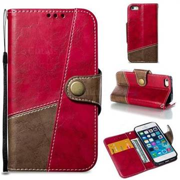 Retro Magnetic Stitching Wallet Flip Cover for iPhone SE 5s 5 - Rose Red