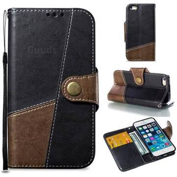 Retro Magnetic Stitching Wallet Flip Cover for iPhone SE 5s 5 - Dark Gray