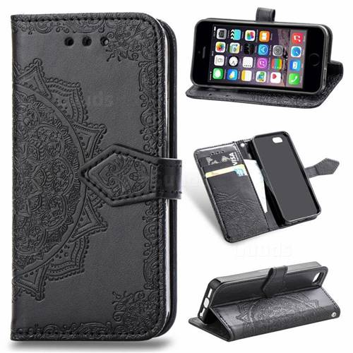 Embossing Imprint Mandala Flower Leather Wallet Case for iPhone SE 5s 5 - Black