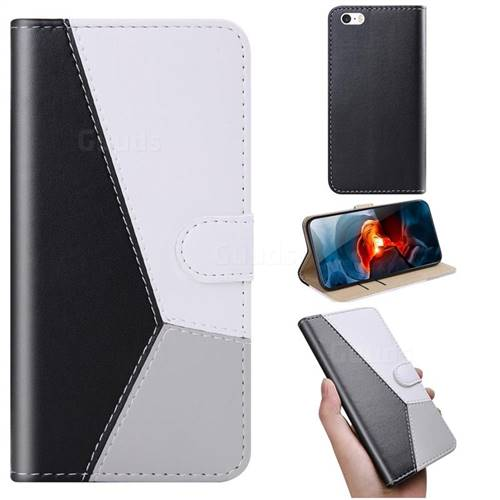 Tricolour Stitching Wallet Flip Cover for iPhone SE 5s 5 - Black