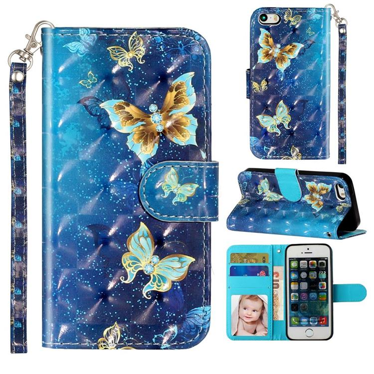 Rankine Butterfly 3D Leather Phone Holster Wallet Case for iPhone SE 5s 5