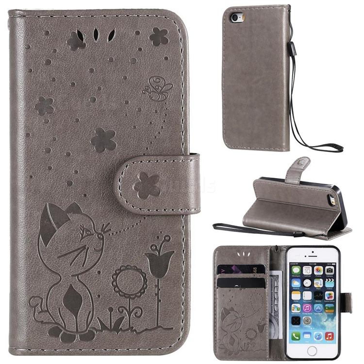 Embossing Bee and Cat Leather Wallet Case for iPhone SE 5s 5 - Gray