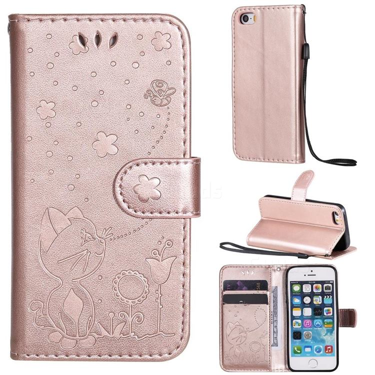 Embossing Bee and Cat Leather Wallet Case for iPhone SE 5s 5 - Rose Gold