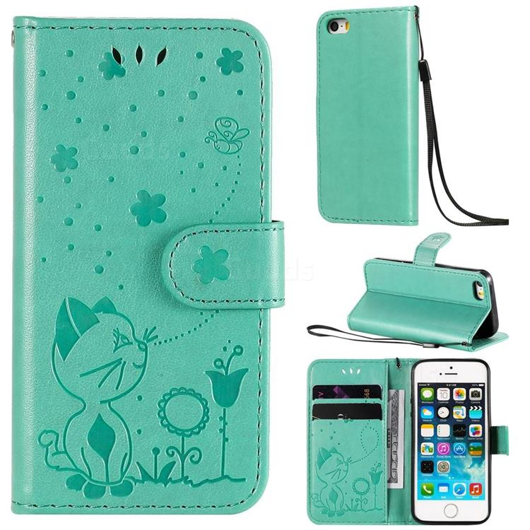Embossing Bee and Cat Leather Wallet Case for iPhone SE 5s 5 - Green