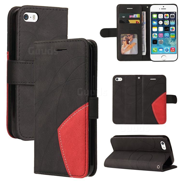 Luxury Two-color Stitching Leather Wallet Case Cover for iPhone SE 5s 5 - Black
