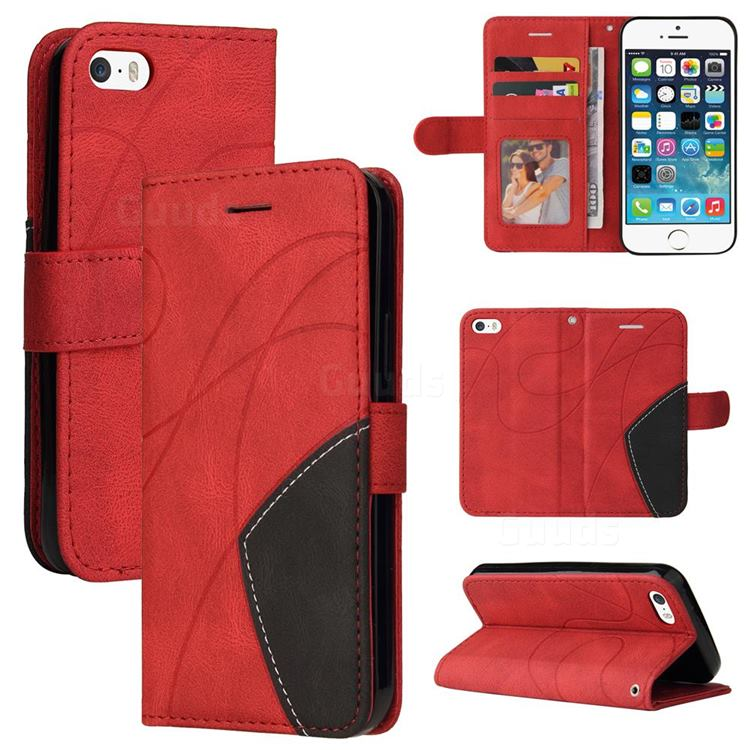 Luxury Two-color Stitching Leather Wallet Case Cover for iPhone SE 5s 5 - Red