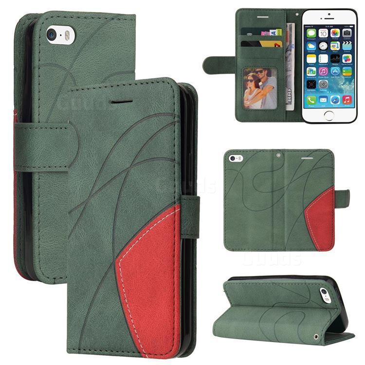 Luxury Two-color Stitching Leather Wallet Case Cover for iPhone SE 5s 5 - Green