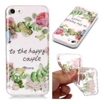 Green Leaf Rose Super Clear Soft TPU Back Cover for iPhone 5c