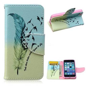 Feather Bird Leather Wallet Case for iPhone 5c