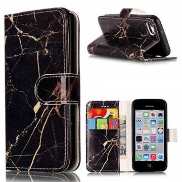 Black Gold Marble PU Leather Wallet Case for iPhone 5c