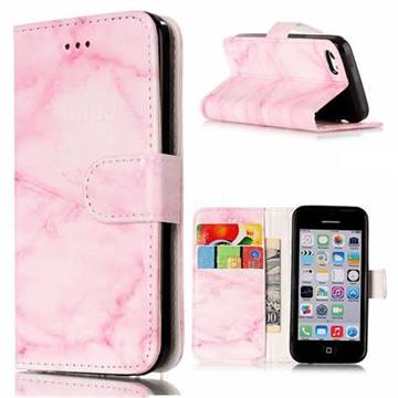 Pink Marble PU Leather Wallet Case for iPhone 5c