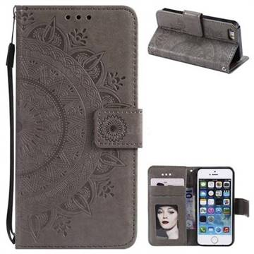 Intricate Embossing Datura Leather Wallet Case for iPhone 5c - Gray