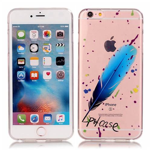 Blue Feathers High Transparent Soft TPU Back Cover for iPhone 6s 6 (4.7 inch)