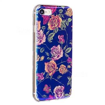 size 40 3f7c7 bddb8 Chinese Roses Flash Powder Blue Ray Light Soft Back Cover for iPhone 6s 6  6G(4.7 inch)