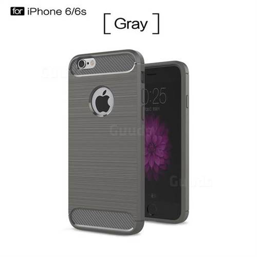Luxury Carbon Fiber Brushed Wire Drawing Silicone TPU Back Cover for iPhone 6s 6 6G(4.7 inch) (Gray)