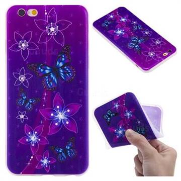 Butterfly Flowers 3D Relief Matte Soft TPU Back Cover for iPhone 6s 6 6G(4.7 inch)