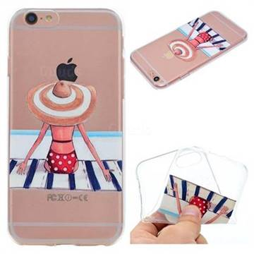 Beach Chair Girl Super Clear Soft TPU Back Cover for iPhone 6s 6 6G(4.7 inch)