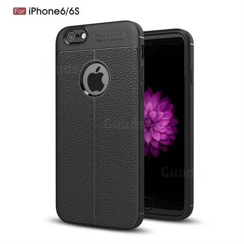 Luxury Auto Focus Litchi Texture Silicone TPU Back Cover for iPhone 6s 6 6G(4.7 inch) - Black
