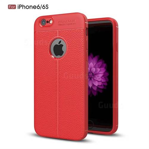 Luxury Auto Focus Litchi Texture Silicone TPU Back Cover for iPhone 6s 6 6G(4.7 inch) - Red