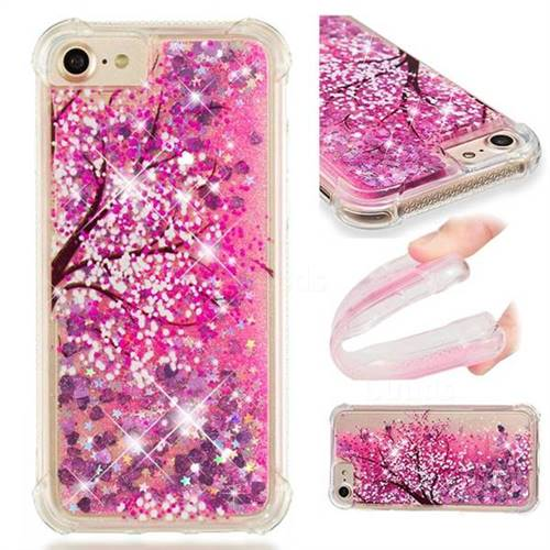 Pink Cherry Blossom Dynamic Liquid Glitter Sand Quicksand Star TPU Case for iPhone 6s 6 6G(4.7 inch)