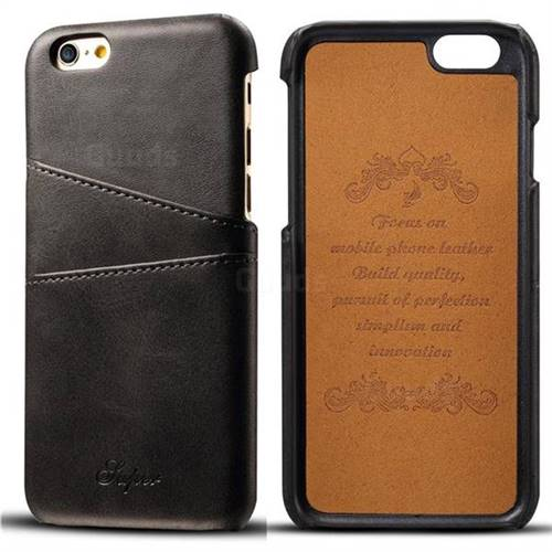 Suteni Retro Classic Card Slots Calf Leather Coated Back Cover for iPhone 6s 6 6G(4.7 inch) - Black