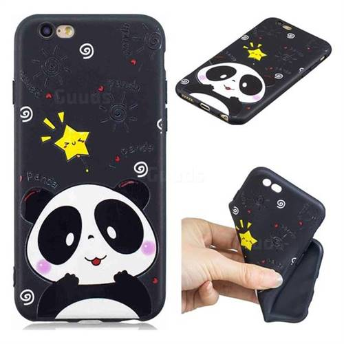 Cute Bear 3D Embossed Relief Black TPU Cell Phone Back Cover for iPhone 6s 6 6G(4.7 inch)