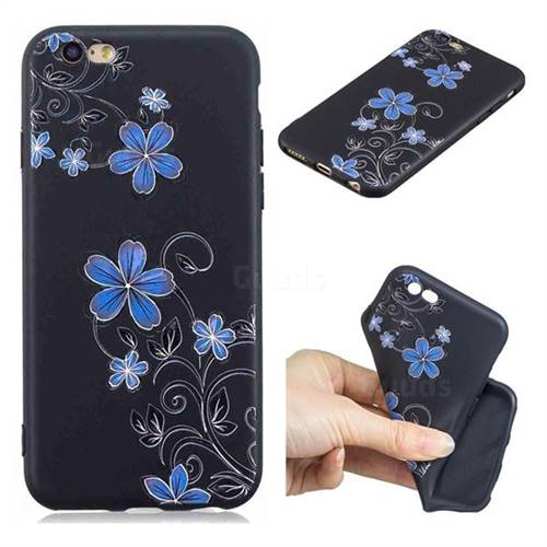 Little Blue Flowers 3D Embossed Relief Black TPU Cell Phone Back Cover for iPhone 6s 6 6G(4.7 inch)