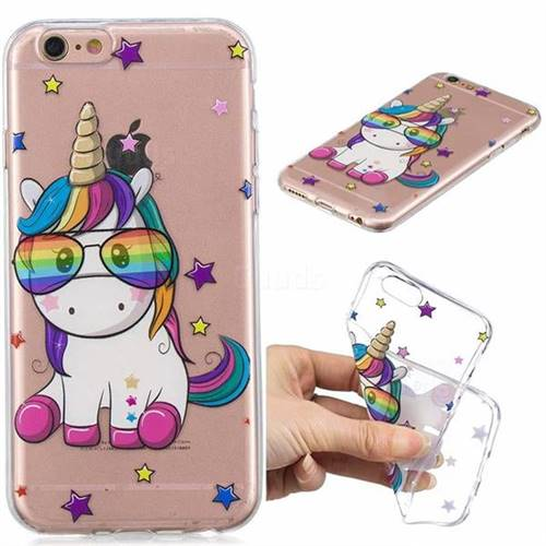 Glasses Unicorn Clear Varnish Soft Phone Back Cover for iPhone 6s 6 6G(4.7 inch)