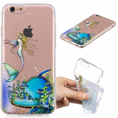 Mermaid Clear Varnish Soft Phone Back Cover for iPhone 6s 6 6G(4.7 inch)