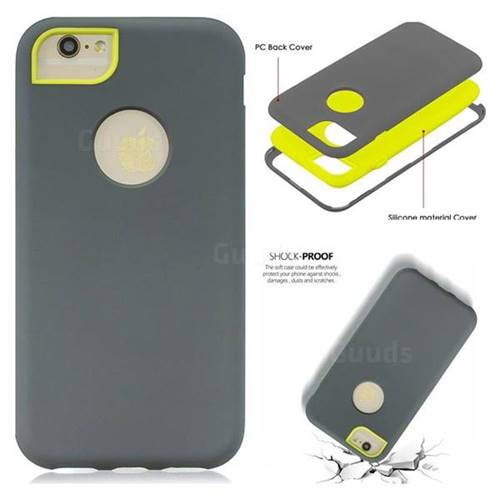 best service 81070 7fb09 Matte PC + Silicone Shockproof Phone Back Cover Case for iPhone 6s 6 6G(4.7  inch) - Gray