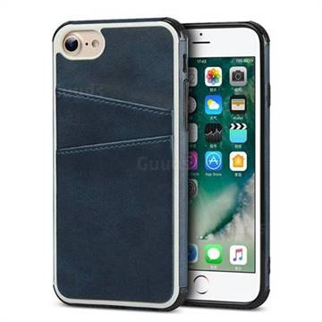 the latest 41276 423f7 Simple Calf Card Slots Mobile Phone Back Cover for iPhone 6s 6 6G(4.7 inch)  - Blue
