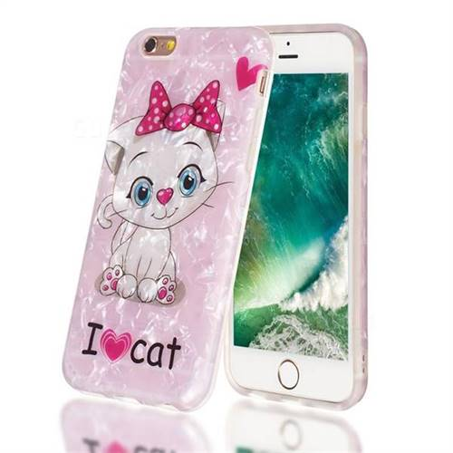 I Love Cat Shell Pattern Clear Bumper Glossy Rubber Silicone Phone Case for iPhone 6s 6 6G(4.7 inch)