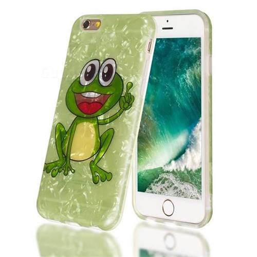 Smile Frog Shell Pattern Clear Bumper Glossy Rubber Silicone Phone Case for iPhone 6s 6 6G(4.7 inch)