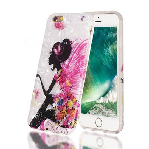 Flower Butterfly Girl Shell Pattern Clear Bumper Glossy Rubber Silicone Phone Case for iPhone 6s 6 6G(4.7 inch)