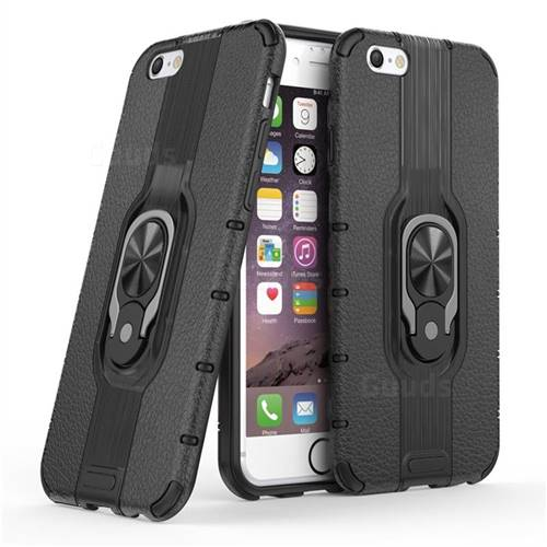 Alita Battle Angel Armor Metal Ring Grip Shockproof Dual Layer Rugged Hard Cover for iPhone 6s 6 6G(4.7 inch) - Black