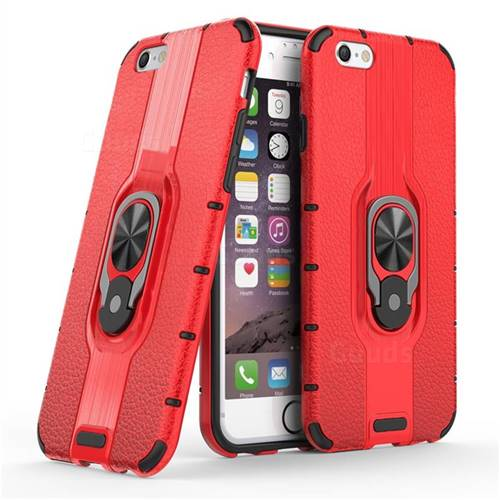 Alita Battle Angel Armor Metal Ring Grip Shockproof Dual Layer Rugged Hard Cover for iPhone 6s 6 6G(4.7 inch) - Red
