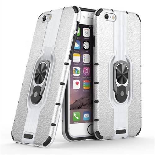 Alita Battle Angel Armor Metal Ring Grip Shockproof Dual Layer Rugged Hard Cover for iPhone 6s 6 6G(4.7 inch) - Silver