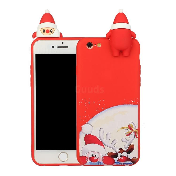 Santa Claus Elk Christmas Xmax Soft 3D Doll Silicone Case for iPhone 6s 6 6G(4.7 inch)