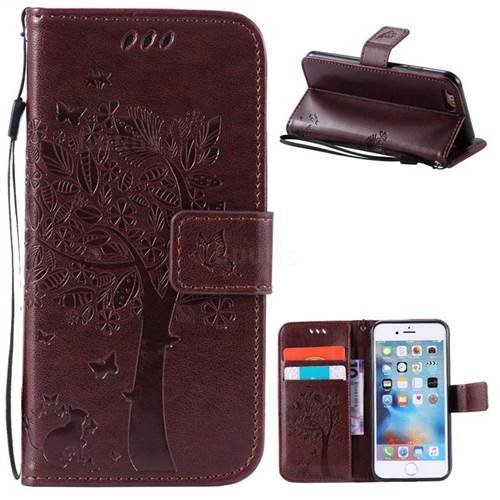 Embossing Butterfly Tree Leather Wallet Case for iPhone 6s 6 (4.7 inch) - Coffee