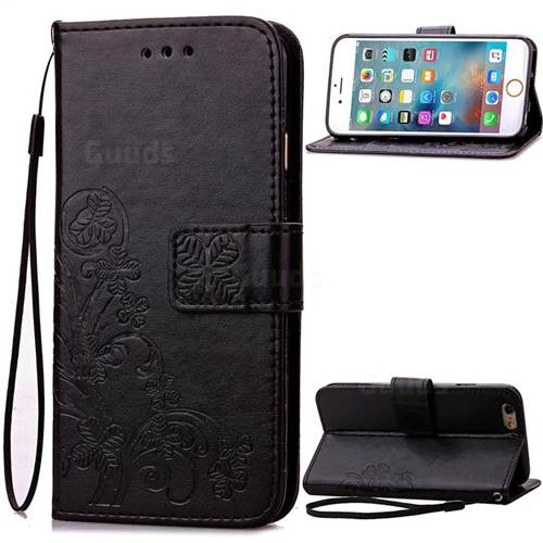 Embossing Imprint Four-Leaf Clover Leather Wallet Case for iPhone 6s 6 (4.7 inch) - Black