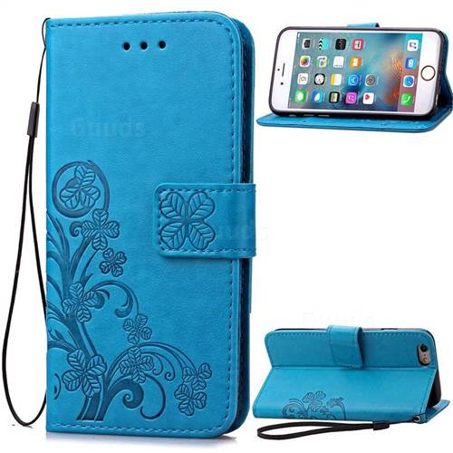 Embossing Imprint Four-Leaf Clover Leather Wallet Case for iPhone 6s 6 (4.7 inch) - Blue