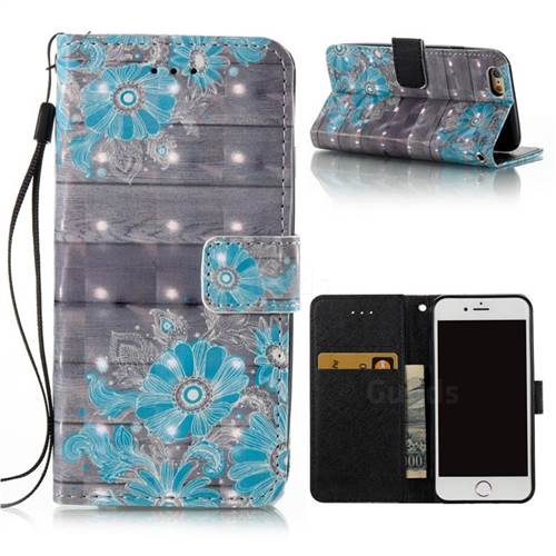 Blue Flower 3D Painted Leather Wallet Case for iPhone 6s 6 6G(4.7 inch)