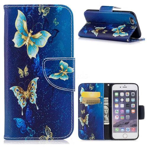 Golden Butterflies Leather Wallet Case for iPhone 6s 6 6G(4.7 inch)