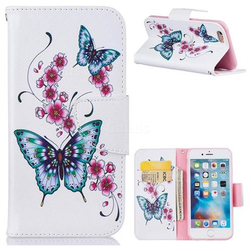 Peach Butterfly Leather Wallet Case for iPhone 6s 6 6G(4.7 inch)