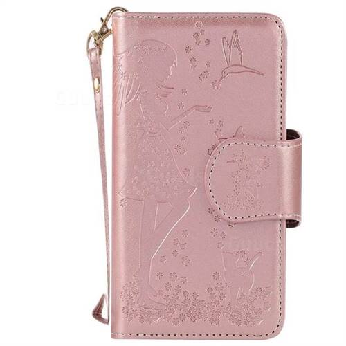 Embossing Cat Girl 9 Card Leather Wallet Case For Iphone 6s 6 6g47 Inch Rose Gold