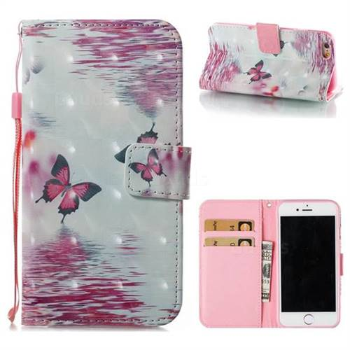 Purple Butterfly 3D Painted Leather Wallet Case for iPhone 6s 6 6G(4.7 inch)